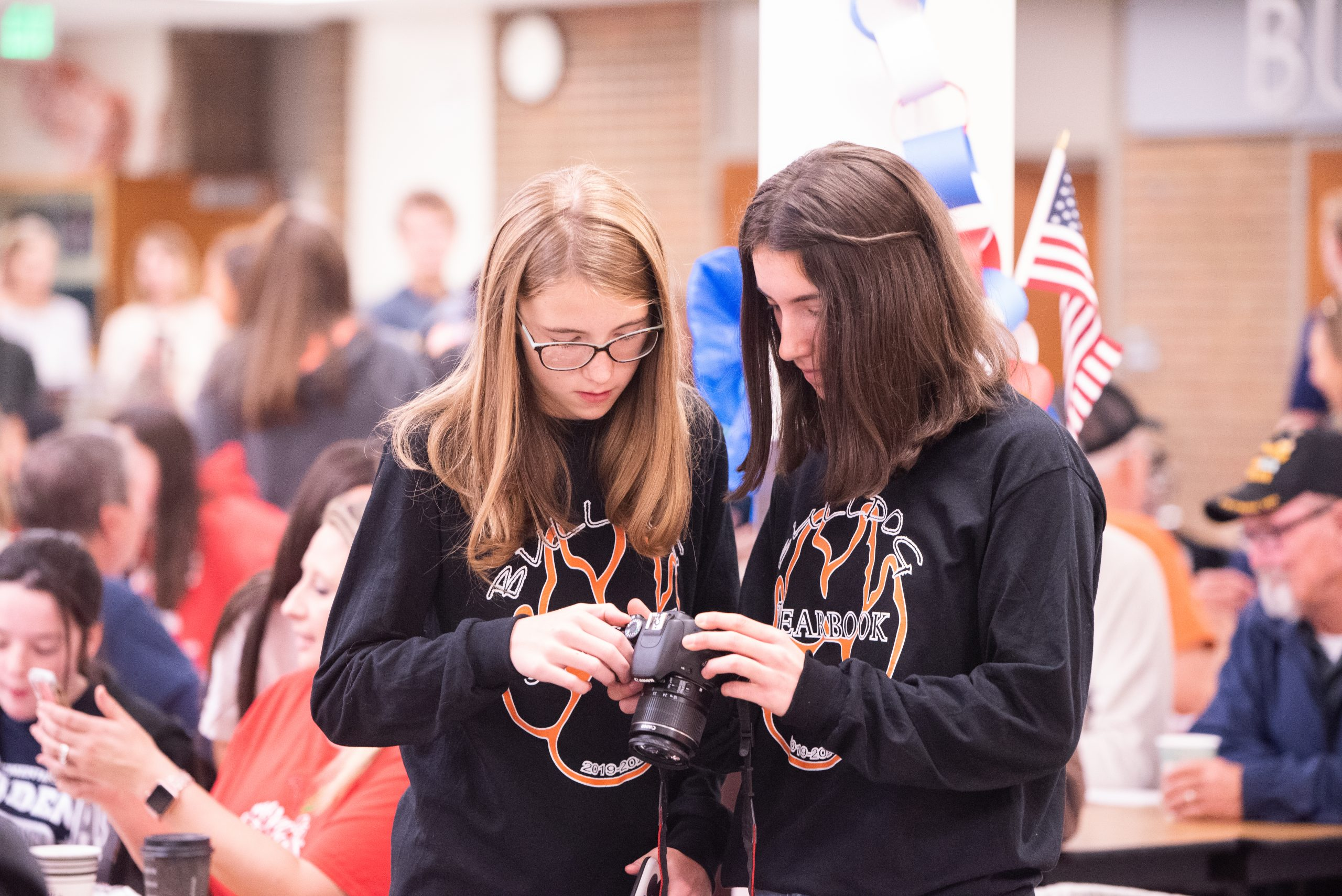Two female students looking at camera